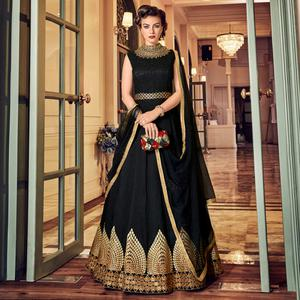Arresting Black Colored Wedding Wear Embroidered Banglori Silk Anarkali Suit
