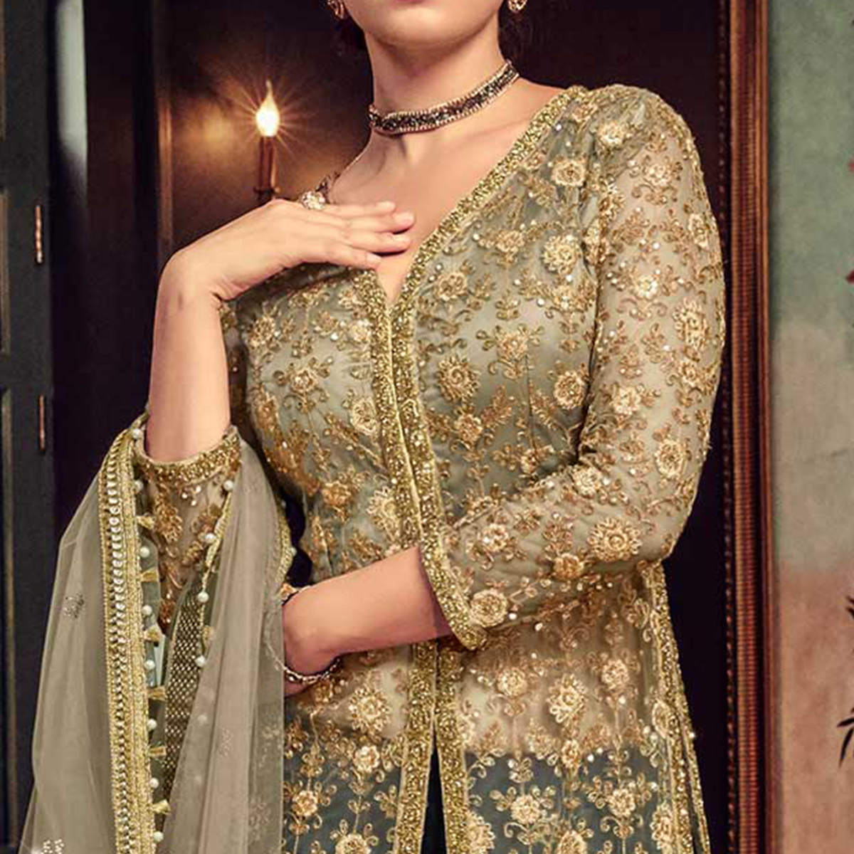 Glorious Beige-Navy Blue Colored Wedding Wear Embroidered Net Palazzo Suit
