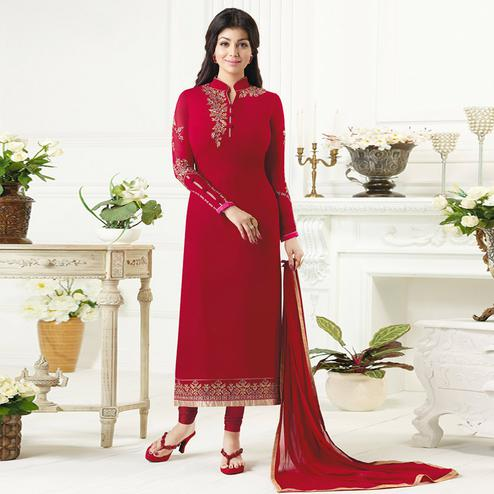 Entrancing Deep Red Colored Party Wear Embroidered Pure Georgette Suit