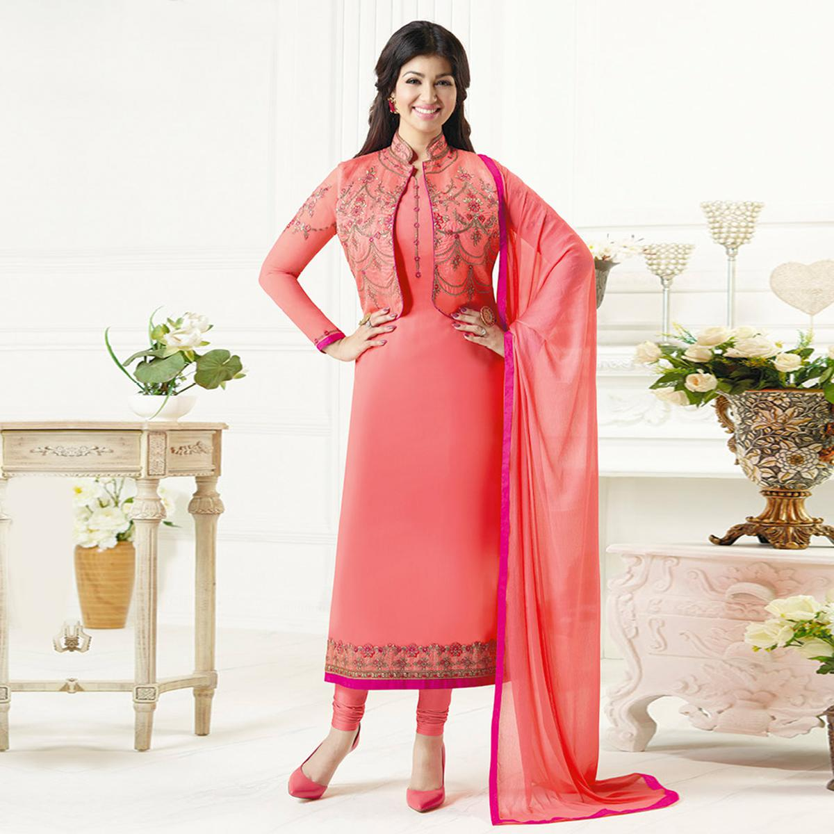 Imposing Pink Colored Party Wear Embroidered Pure Georgette Suit