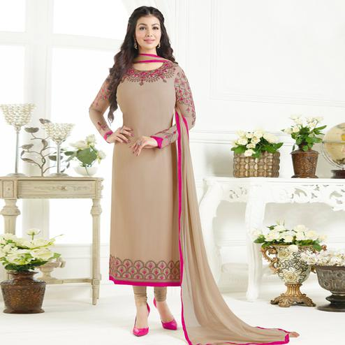 Blissful Beige Colored Party Wear Embroidered Pure Georgette Suit