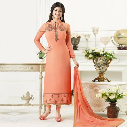 Ideal Peach Colored Party Wear Embroidered Pure Georgette Suit