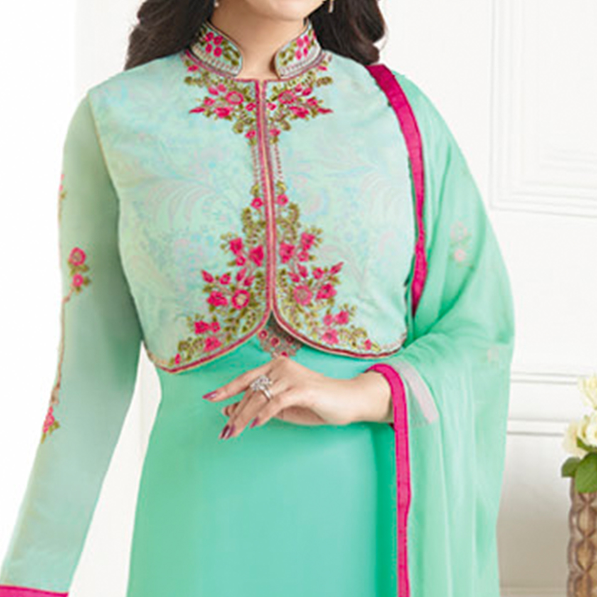 Engrossing Turquoise Green Colored Party Wear Embroidered Pure Georgette Suit