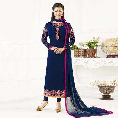 Fantastic Navy Blue Colored Party Wear Embroidered Pure Georgette Suit