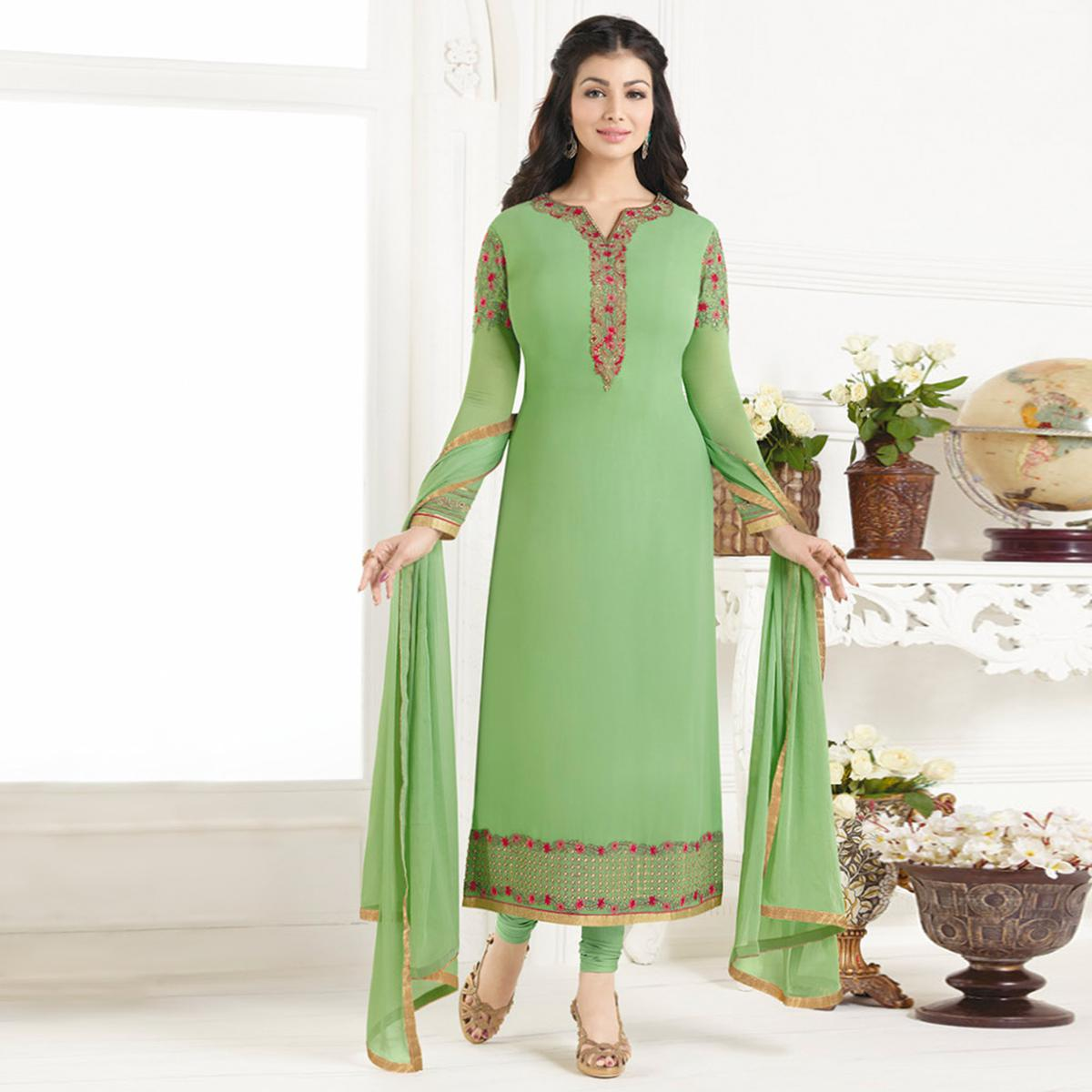 Staring Green Colored Party Wear Embroidered Pure Georgette Suit
