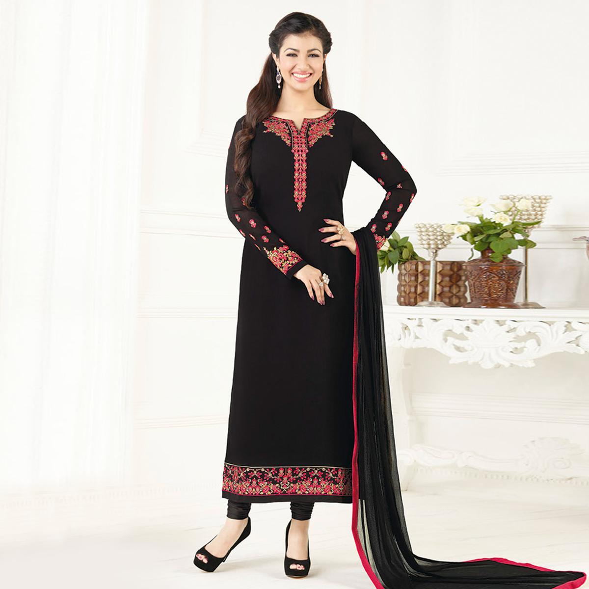 Ethnic Black Colored Party Wear Embroidered Pure Georgette Suit