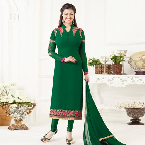 Starring Bottle Green Colored Party Wear Embroidered Pure Georgette Suit