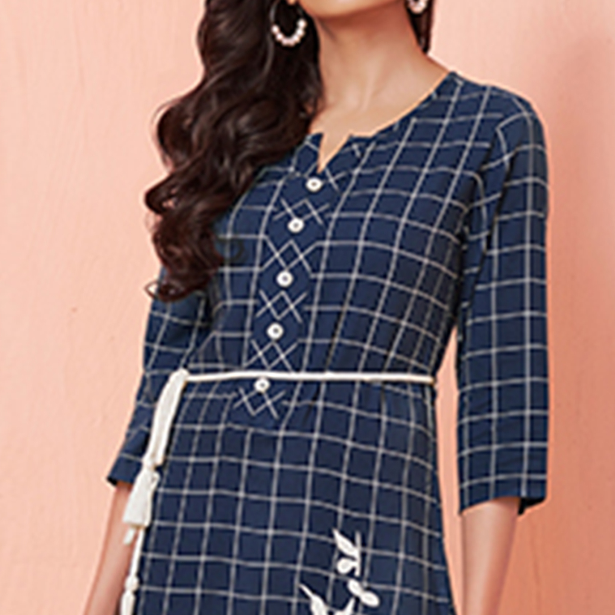 Classy Blue Colored Party Wear Embroidered Rayon Kurti