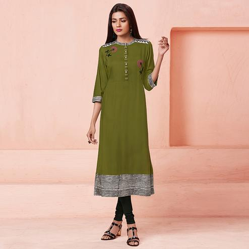 Graceful Olive Green Colored Casual Wear Embroidered Rayon Kurti