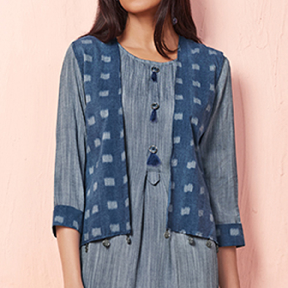 Lovely Grey Colored Casual Wear Rayon Kurti With Jacket