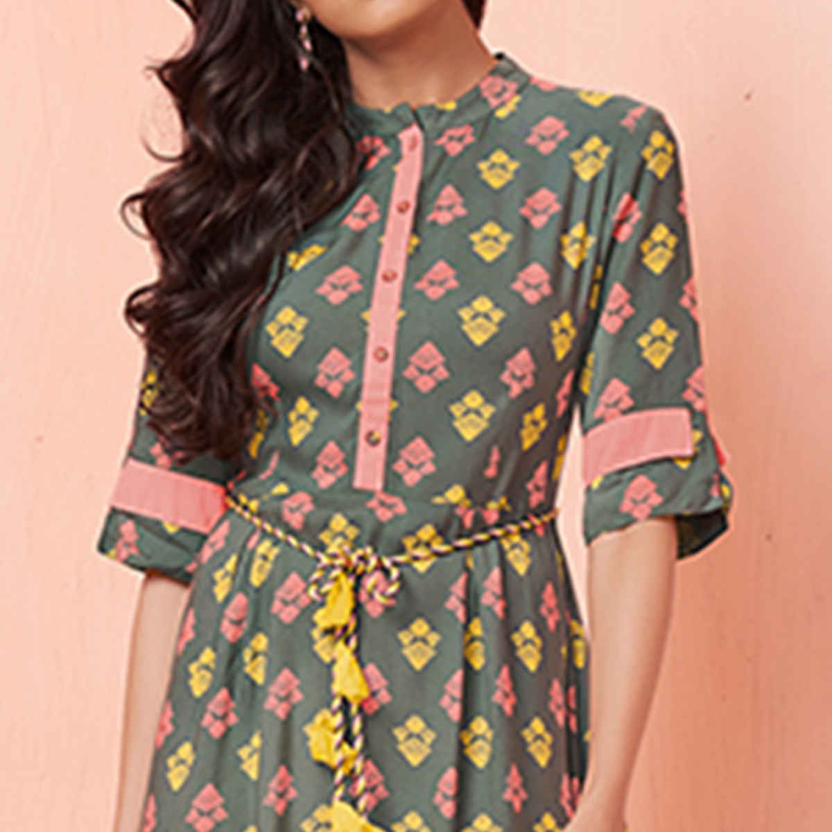 Ravishing Grey Colored Party Wear Printed Rayon Kurti