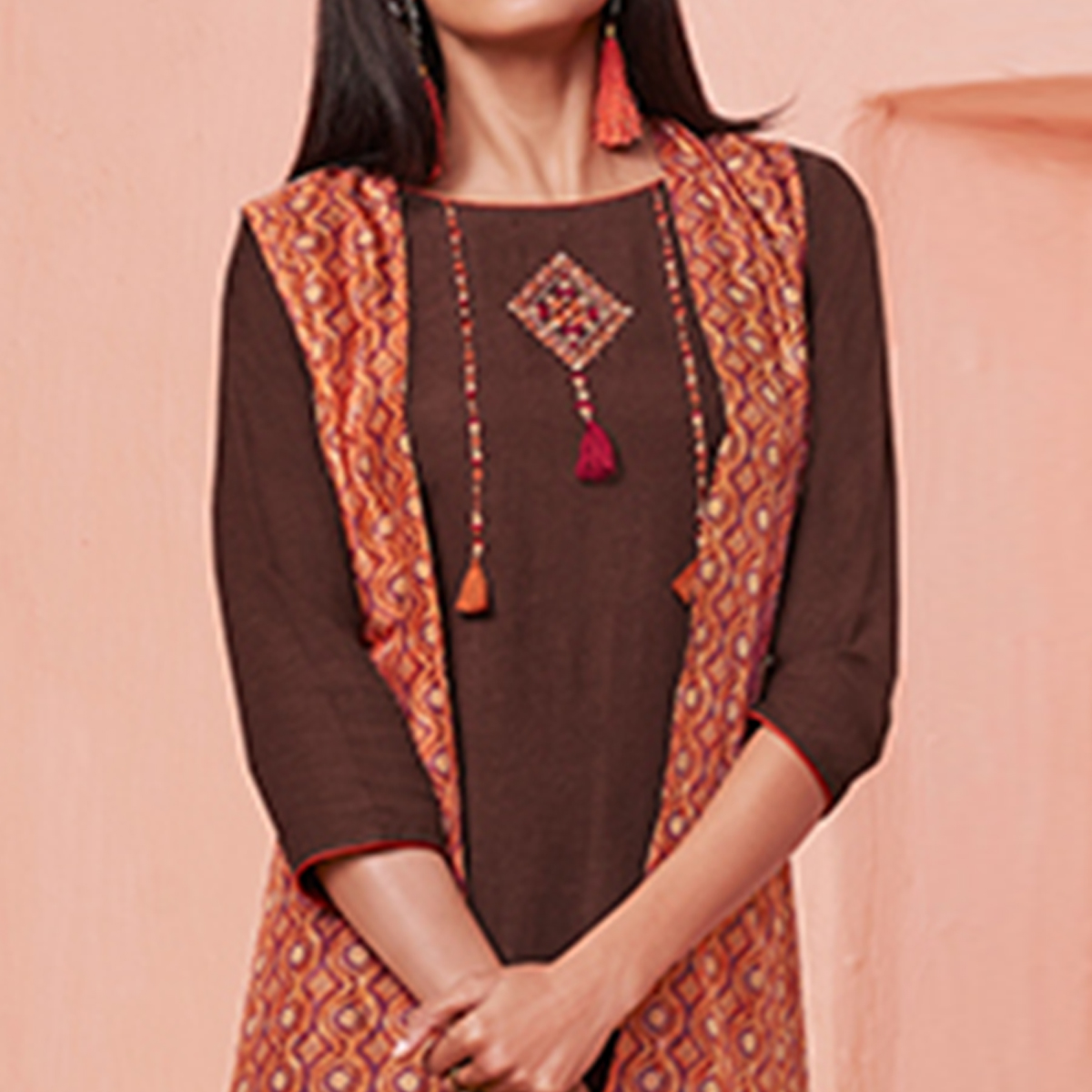 Delightful Brown & Orange Colored Party Wear Embroidered Rayon Kurti