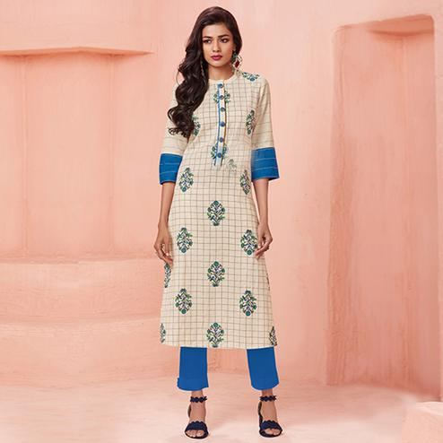 Stunning Cream Colored Casual Wear Printed Cotton Kurti
