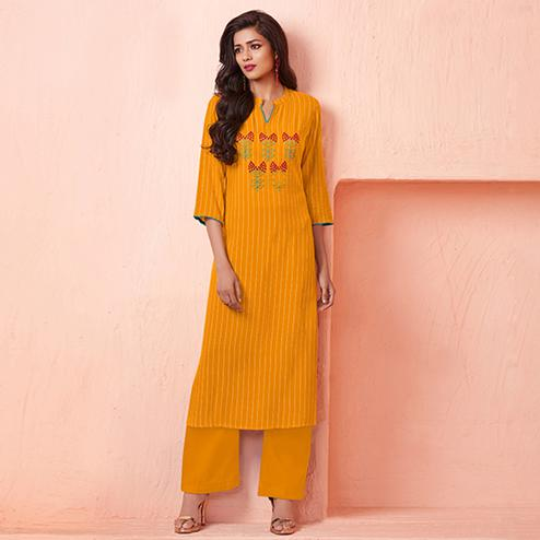 Blooming Mustard Colored Casual Wear Embroidered Rayon Kurti