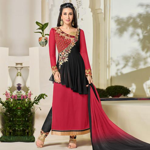 Elegant Red & Black Colored Party Wear Embroidered Georgette Suit