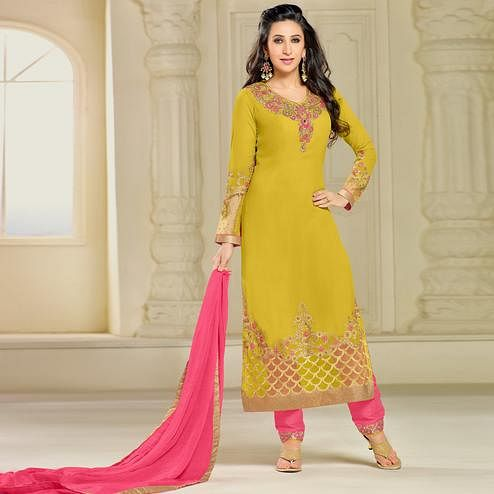 Radiant Lemon Green Colored Party Wear Embroidered Georgette Suit