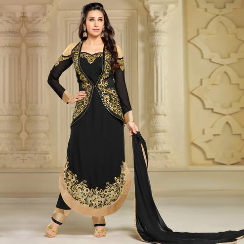 Sensational Black Colored Party Wear Embroidered Georgette Suit