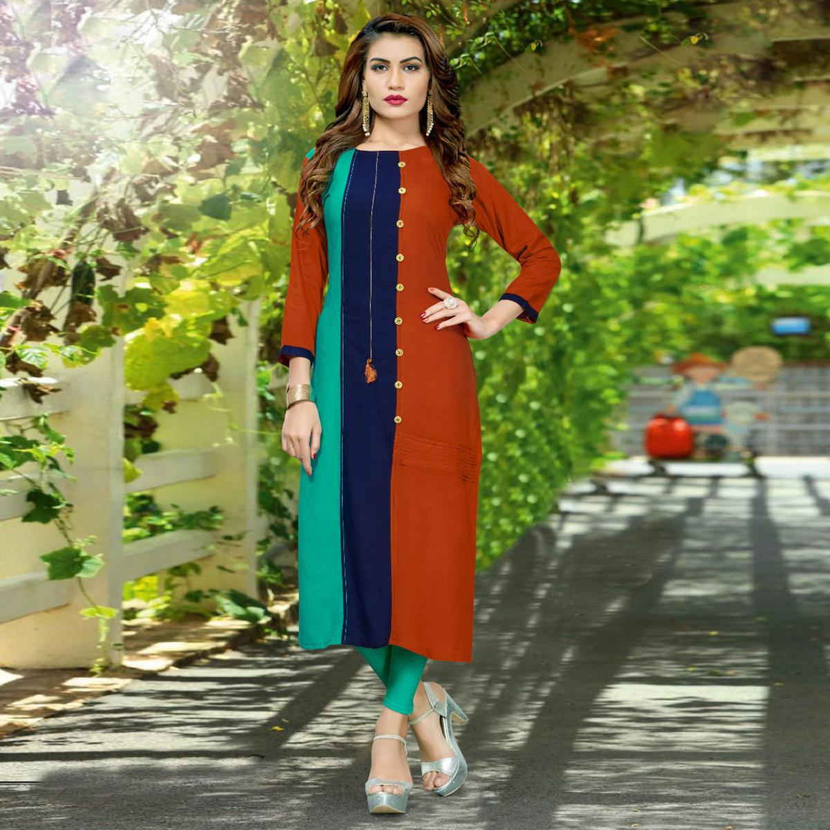 Pleasant Multi Colored Casual Wear Rayon Kurti