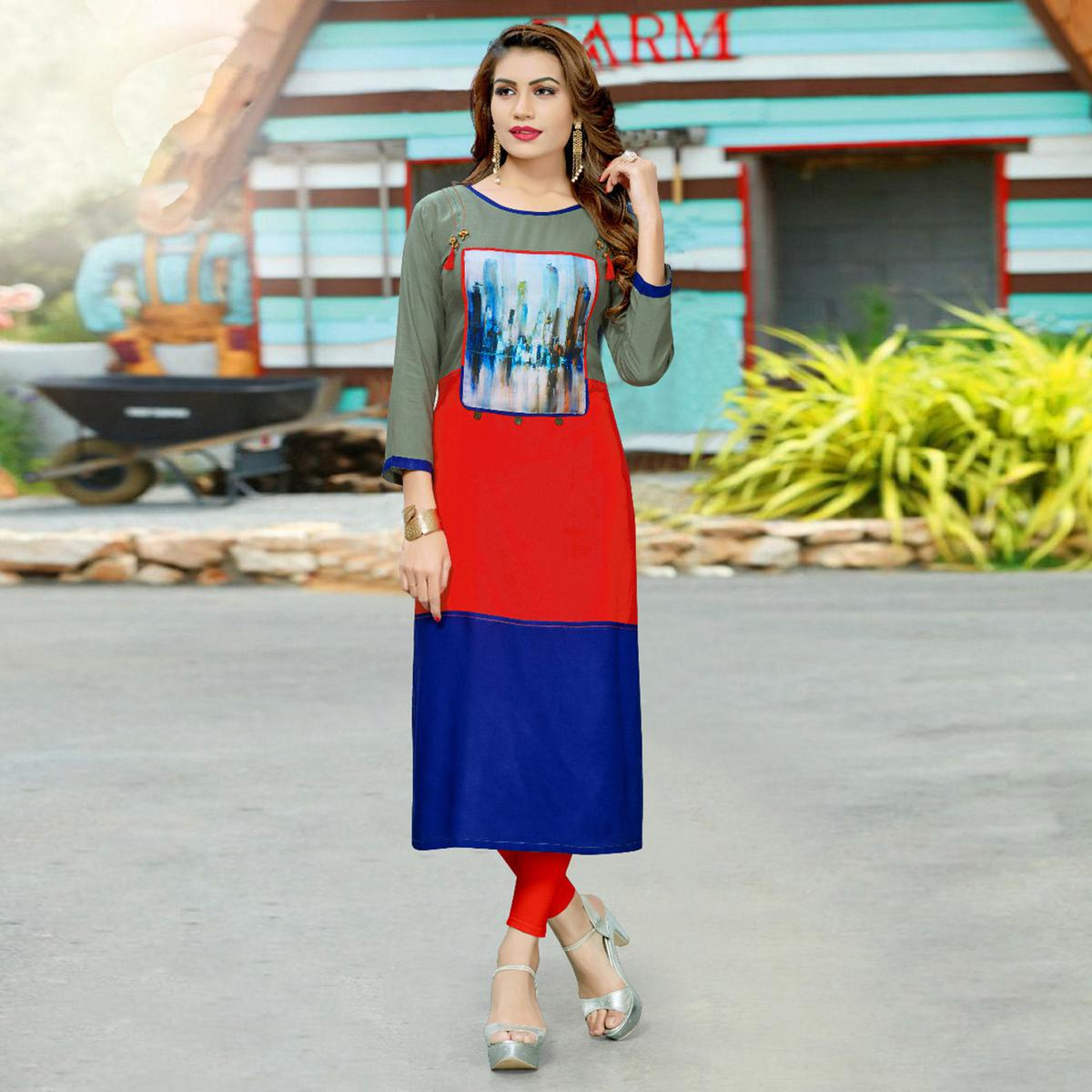 Unique Red - Blue Colored Casual Wear Rayon Kurti
