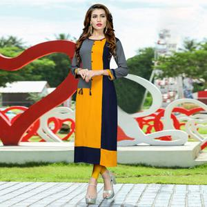 Refreshing Yellow - Blue Colored Casual Wear Rayon Kurti