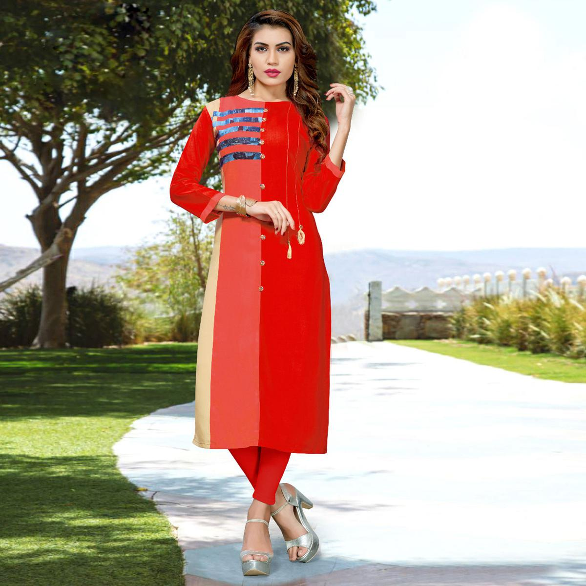 Elegant Red Colored Casual Wear Rayon Kurti
