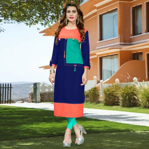 Charming Blue - Peach Colored Casual Wear Rayon Kurti