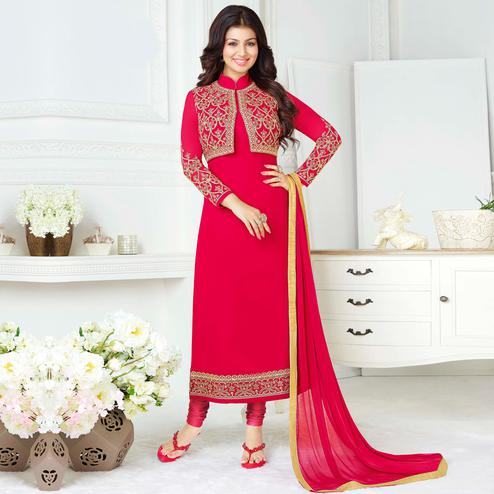 Lovely Deep Pink Colored Party Wear Embroidered Pure Georgette Suit