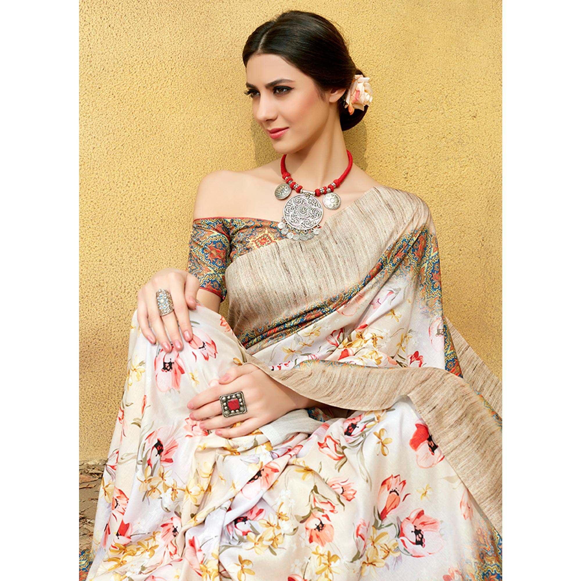 Adorable White Colored Casual Wear Printed Tussar Silk Saree