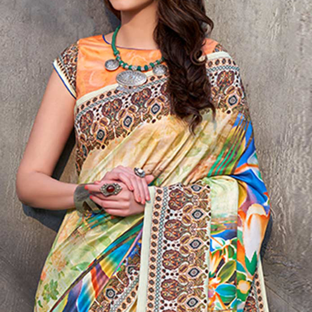Attractive Mint Green Colored Casual Wear Printed Tussar Silk Saree