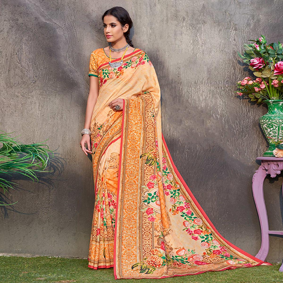 Beautiful Pastel Orange Colored Casual Wear Printed Tussar Silk Saree