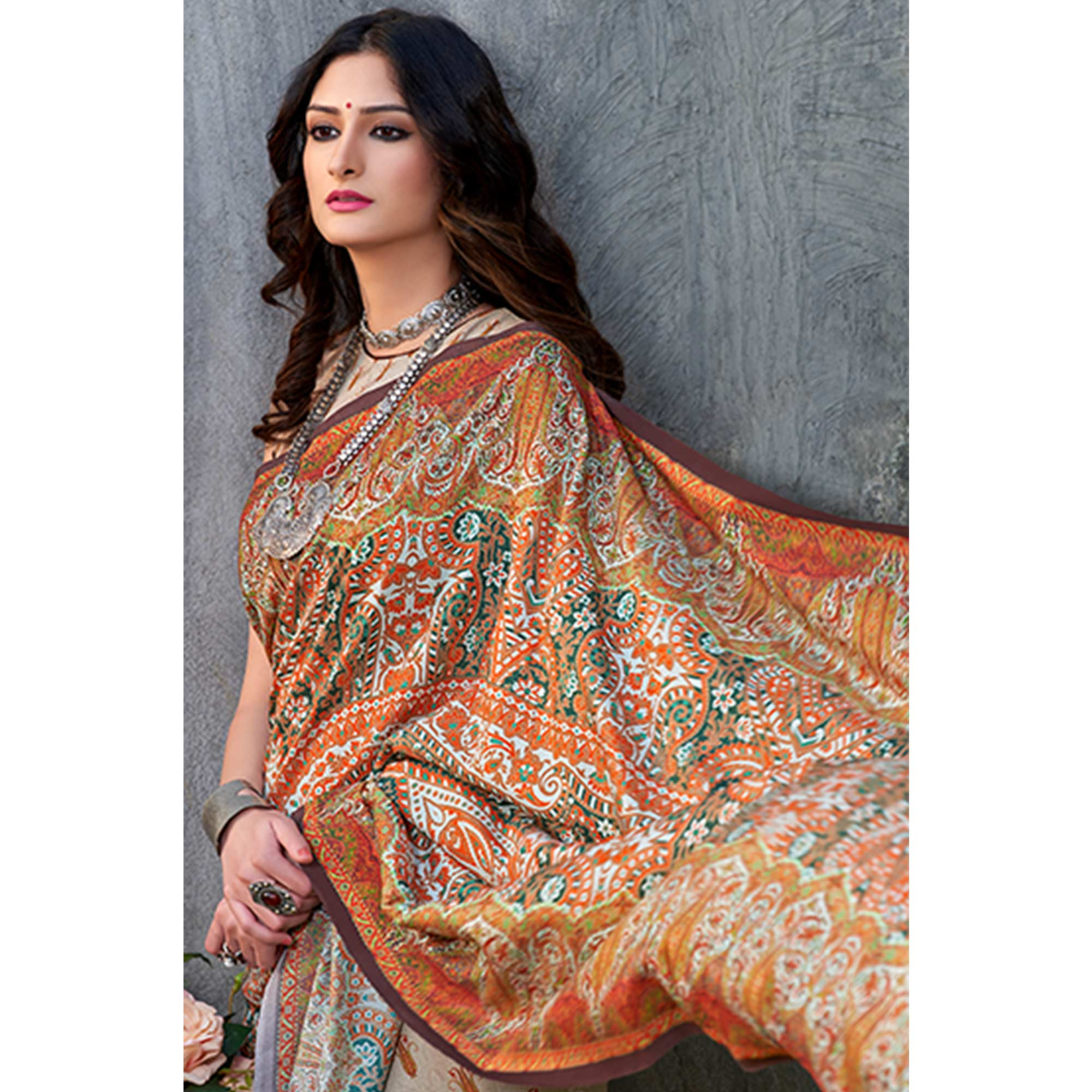 Gorgeous Grey - Multi Colored Casual Wear Printed Tussar Silk Saree