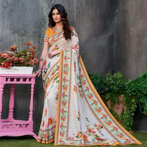 Classy White Colored Casual Wear Printed Tussar Silk Saree