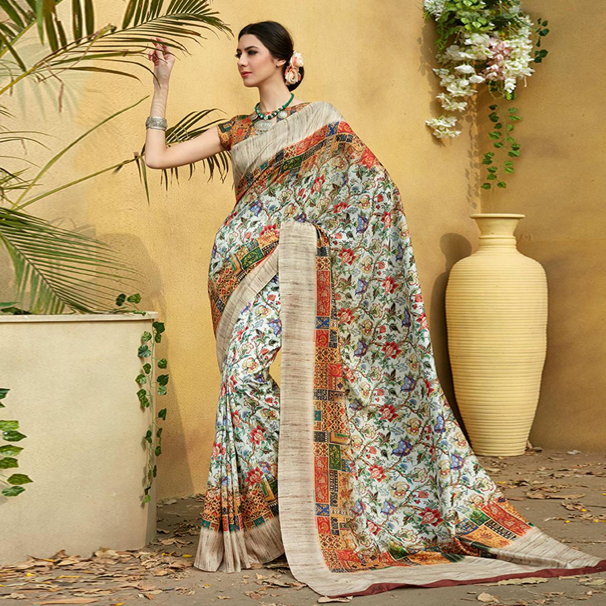 Glorious Multi Colored Casual Wear Printed Tussar Silk Saree