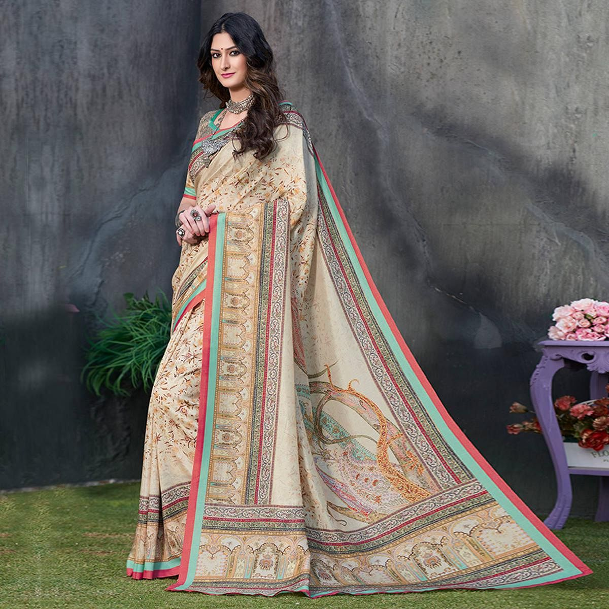 Graceful Beige Colored Casual Wear Printed Tussar Silk Saree