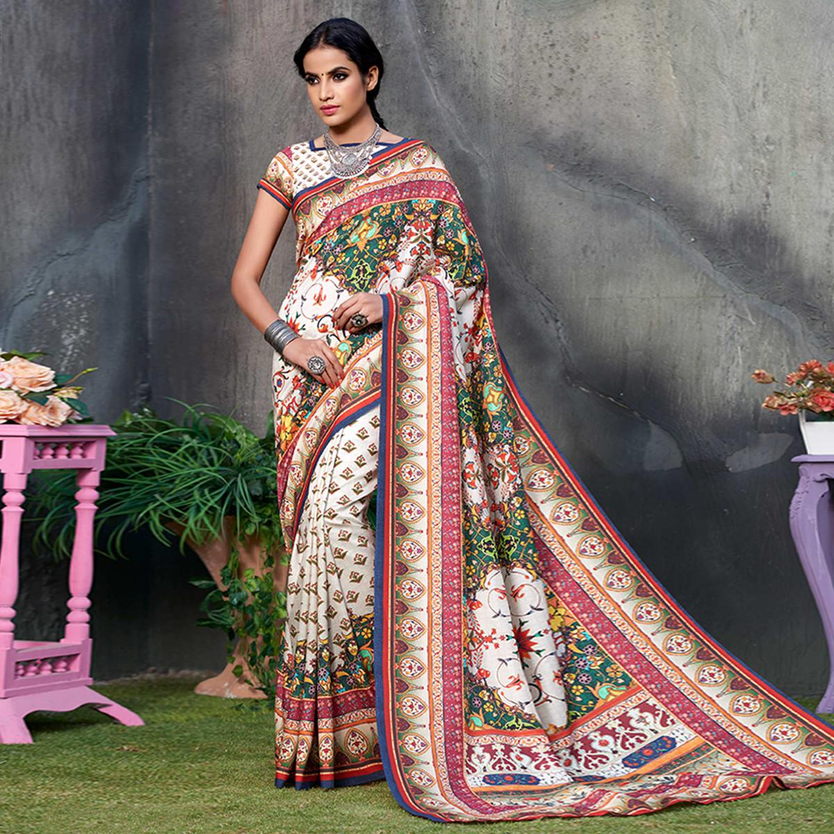 Pretty White Colored Casual Wear Printed Tussar Silk Saree