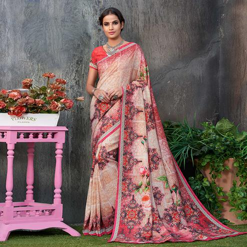 Charming Multi Colored Casual Wear Printed Tussar Silk Saree