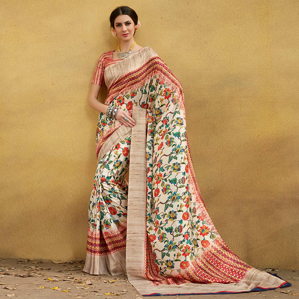 Ravishing Cream Colored Casual Wear Printed Tussar Silk Saree