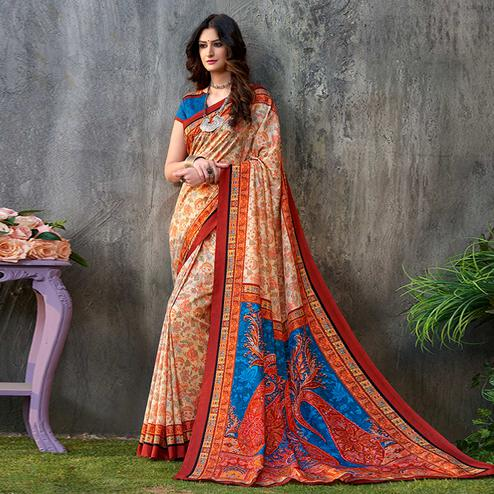 Delightful Light Yellow - Orange Colored Casual Wear Printed Tussar Silk Saree