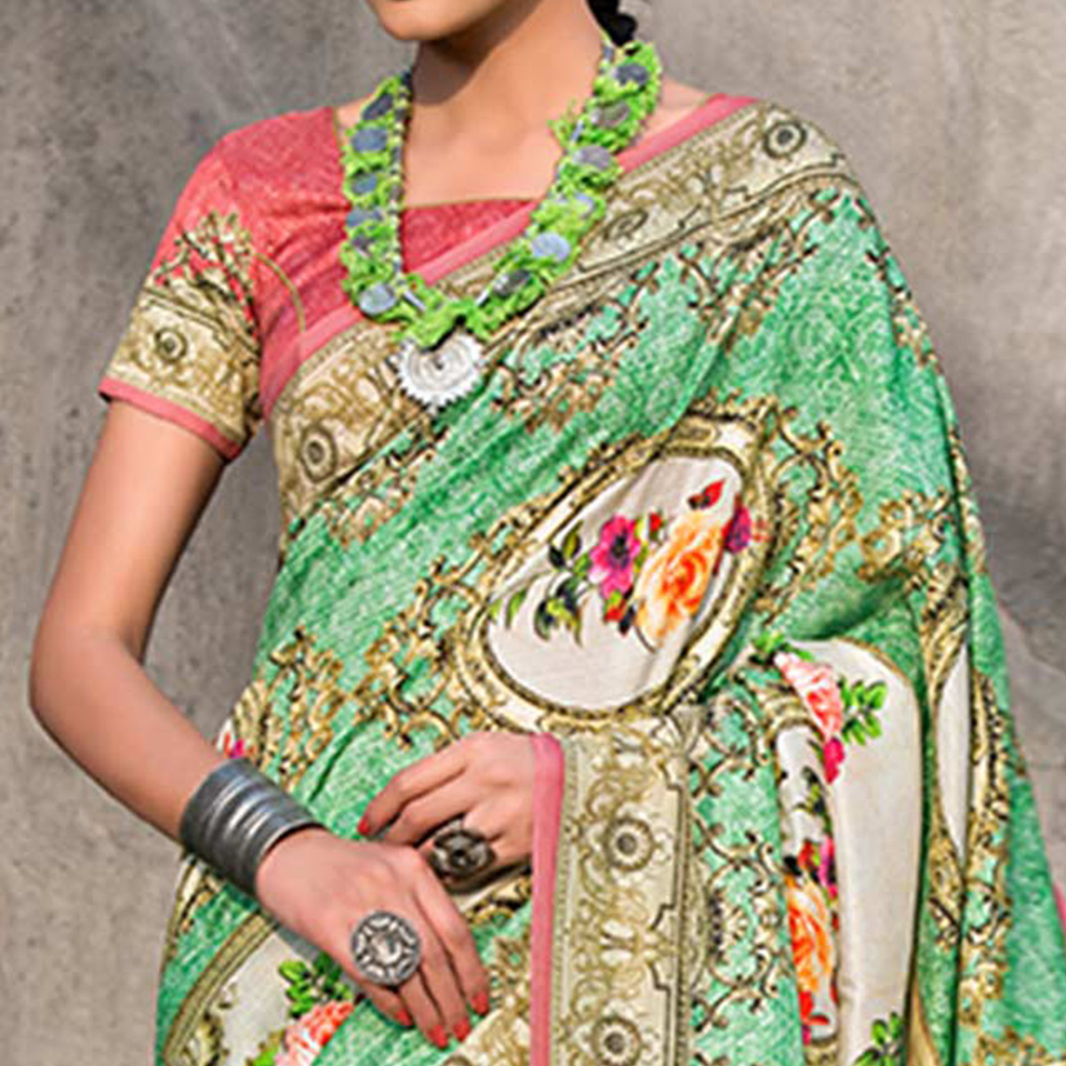 Stunning Green Colored Casual Wear Printed Tussar Silk Saree