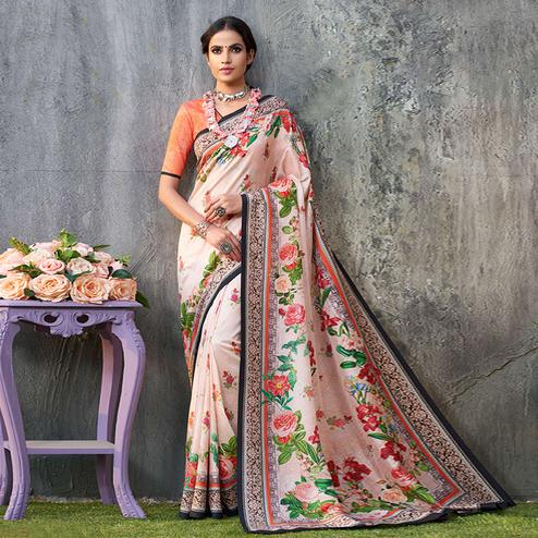 Blooming Light Pink Colored Casual Wear Printed Tussar Silk Saree