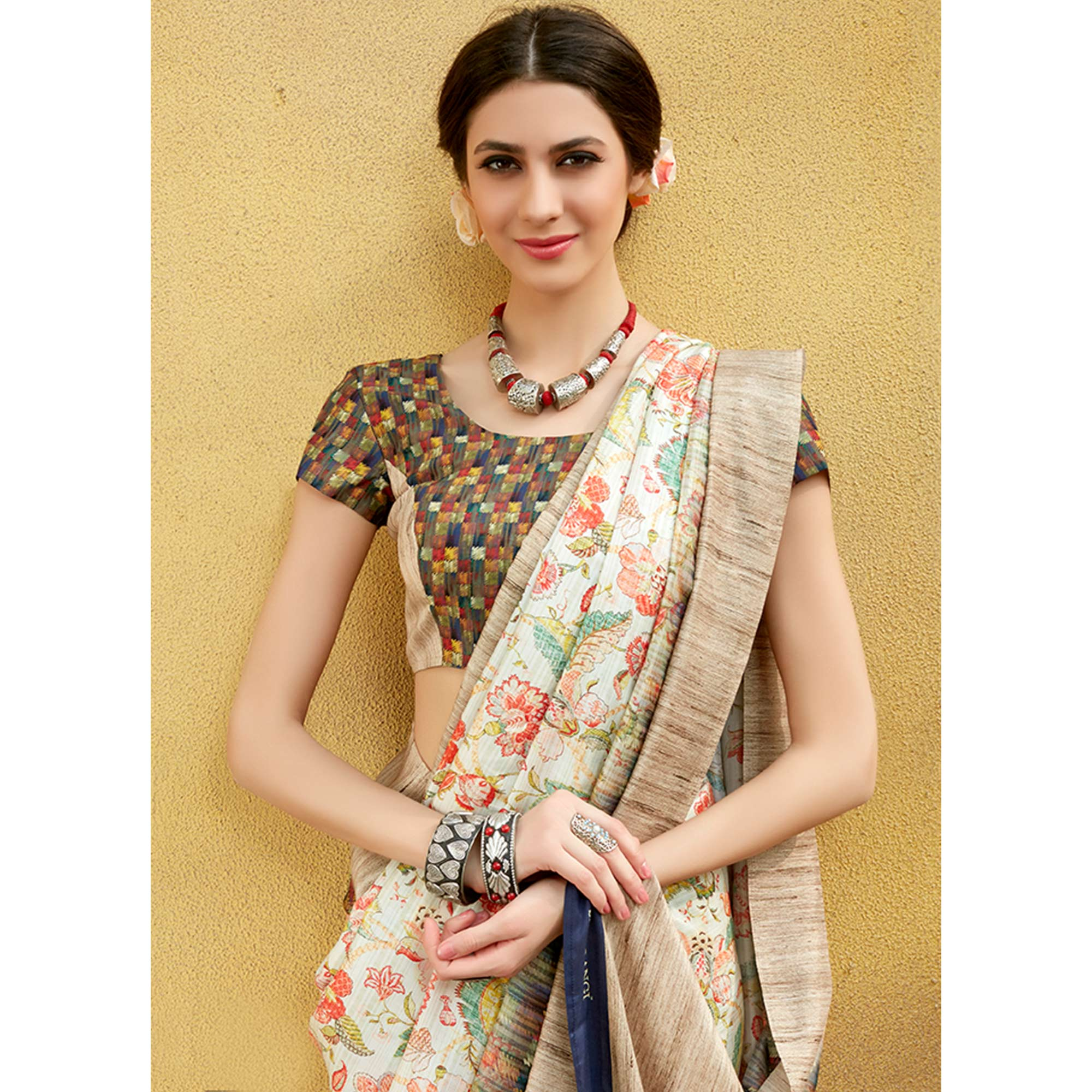 Marvellous Off White Colored Casual Wear Printed Tussar Silk Saree
