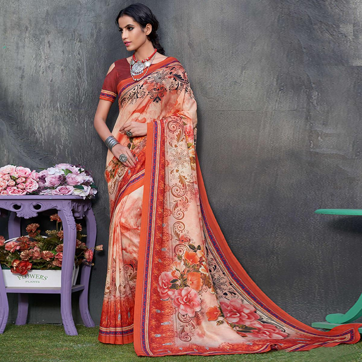 Mesmerising Peach Colored Casual Wear Printed Tussar Silk Saree