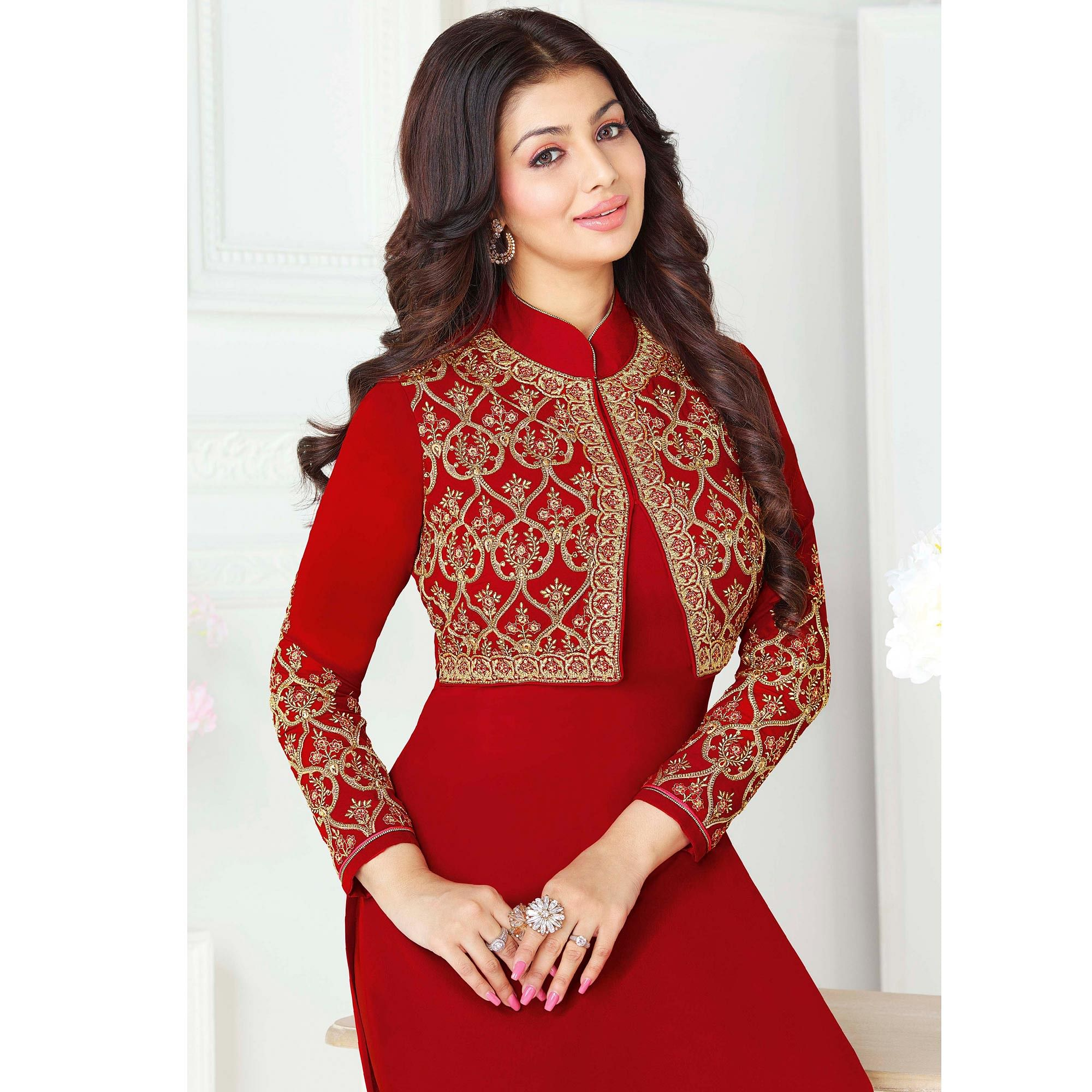 Pretty Red Colored Party Wear Embroidered Pure Georgette Suit