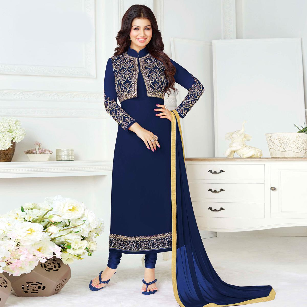 Charming Blue Colored Party Wear Embroidered Pure Georgette Suit