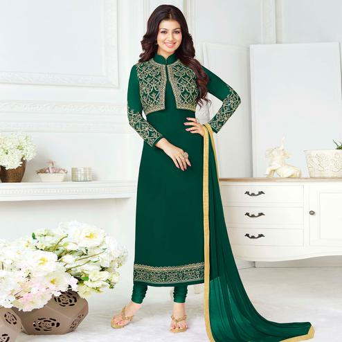 Ravishing Green Colored Party Wear Embroidered Pure Georgette Suit
