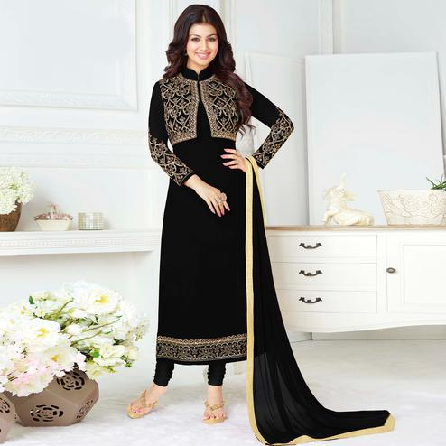 Stunning Black Colored Party Wear Embroidered Pure Georgette Suit