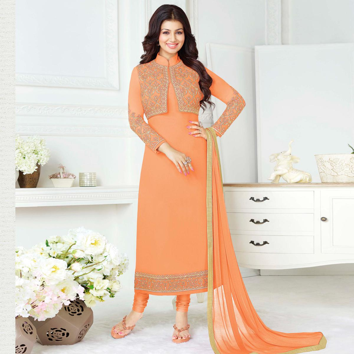 Delightful Peach Colored Party Wear Embroidered Pure Georgette Suit