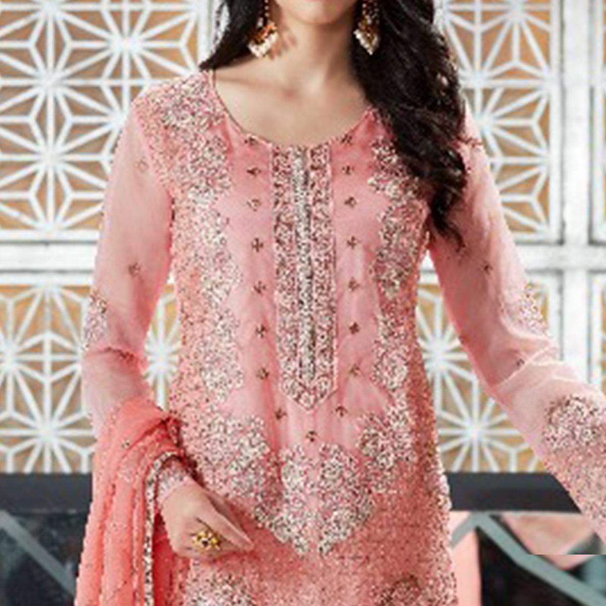 Imposing Pink Colored Party Wear Embroidered Organza Suit