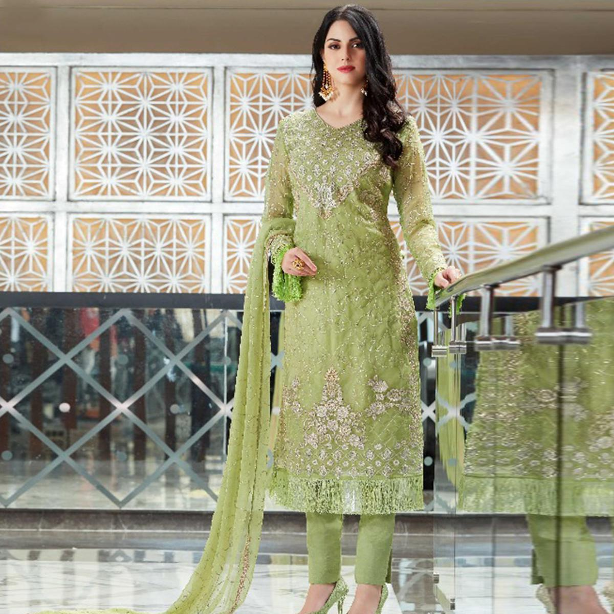 Blissful Green Colored Party Wear Embroidered Organza Suit