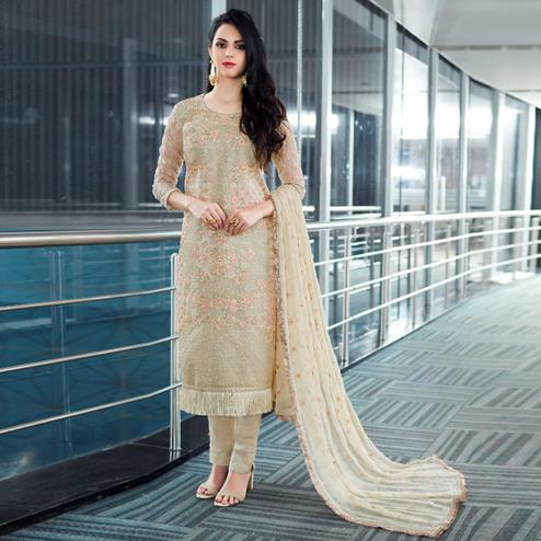 Ideal Beige Colored Party Wear Embroidered Organza Suit